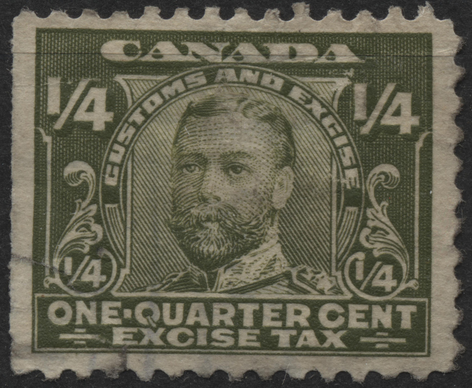 1915 FX1 1 4c Olive Green Excise Tax Stamp Mint Hinged P39Pg6S19 SOLD P39Pg6S20